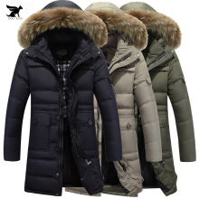 Plus Size 4XL Winter Warm Hooded Men Down Coat X-Long Business Thicken Duck Down Jackets Luxury raccoon fur collar Solid Parkas