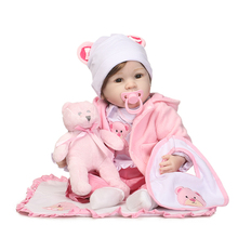55cm Silicone Reborn Baby Doll Toys With Bear Pacifier Luxury Accessories Princess Dolls Lovely Birthday Gift Girls Brinquedos(China)
