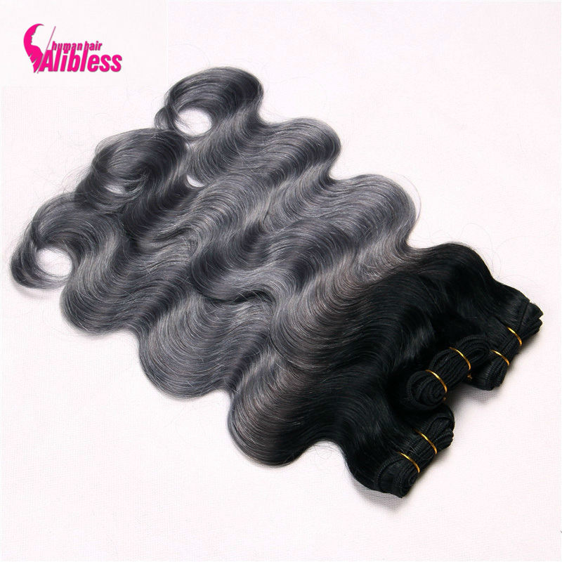 Ombre Body Wave 1B#/dark grey ombre human hair 3 pcs Indian ombre hair weave 2 tone colored grey ombre hair body wave bundles<br><br>Aliexpress