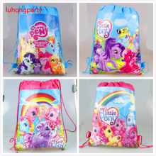 1pcs 34*27cm my little pony cartoon non-woven fabrics drawstring backpack Gift bag Party Favor LUHONGPARTY