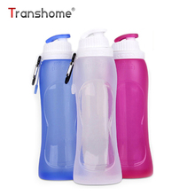 Transhome Foldable Water Bottle 500ml Collapsible Plastic Silicone Creative Portable Waterfles For Sport Drinking Water Bottle