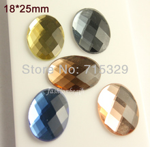 25pcs vintage 18x25mm Oval Czech Crystal glass foiled flatback rhinestones Cabochon glass buttons glass beads U-pick color(China)