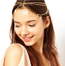 Vintage Chain Hairband Multilayer Hair Accessories Grecian Leaf New Forehead Crown for Women