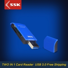 SSK SCRM331 USB 3.0 Card Readers 2 in 1 High Speed USB 3.0 SD / Micro SD / SDXC / TF / T-Flash Memory Card Reader Adapter(China)