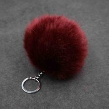 New High quality Large 8cm Faux fake bunny Rabbit fox Fur Pompom Ball Keychain Key Chain Holder Women bag jewelry Charm pendant