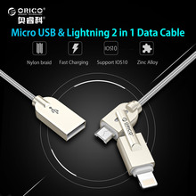 ORICO 2 in 1 USB to Lightning and Micro USB Cable Charge & Sync Cord for iPhone 6s iPad Android Devices with Zinc Alloy Material(China)