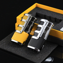COHIBA High-end Network Armour Cigar Smoking Ligther w/ Built-in Cigar Punch Flame 3 Torch Cigarette Fire Lighter w/ Gift Box