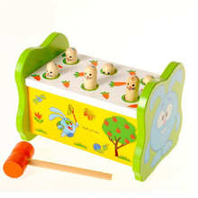 1 Set Children's Educational Colorful Wooden Toys Classic Baby Game Playing Hamster Knock Animal Improve Kid Response Capability