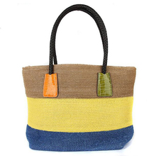 Hand woven bags three color lace PP grass single shoulder waterproof straw  bags  leisure beach bag woman shoulder handbags