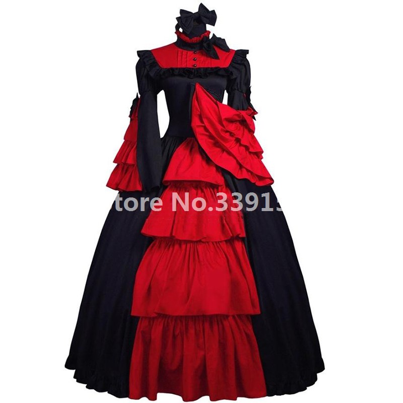 Hot Sale Costumes for Women Adult Southern Victorian Dress Black and Red Ball Gown Gothic Lolita Dress