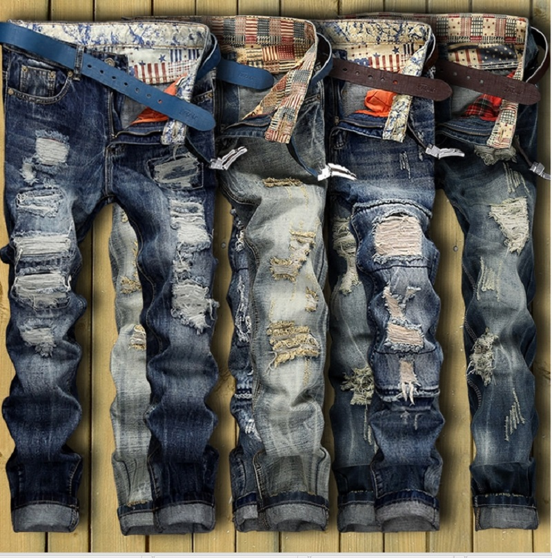 European American Style 2017 fashion brand luxury quality Men casual denim jeans trousers Straight blue pop slim Vintage jeansОдежда и ак�е��уары<br><br><br>Aliexpress