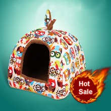 Hot Fleece Warm Dog Bed House Puppy Pet Bed Cats Bed Fashionable Small Dog House Kennel Two Use Warm Kitten House Bed For Dogs(China)