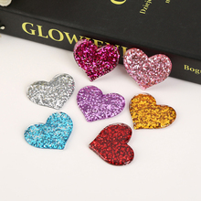 31*37mm 10pcs Mixed Cute Sweet Heart with colorful glitter Flatback resin cabochon for phone deco hairbow diy Craft Making(China)