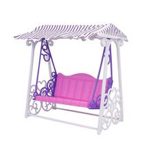 Girl Birthday Gift Doll House Furniture Garden Swing Set Plastic Vintage Sofa Play Toy Accessories For Barbie Doll(China)