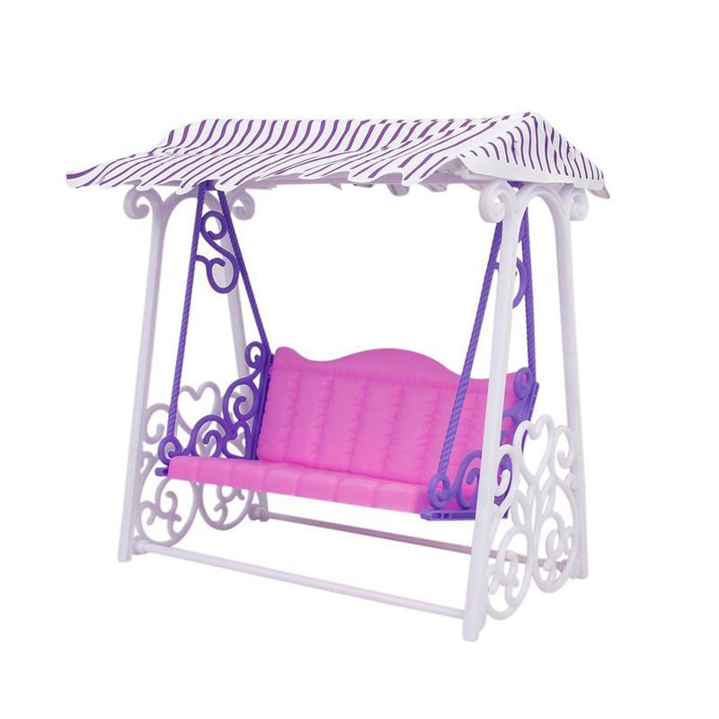 nia regalo de cumpleaos casa de muecas muebles de jardn columpio de plstico vintage sof juguete accesorios para barbie dol