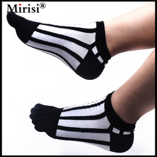 6 Pairs MIRISI Summer Fashion Design Man's Ankle 5 Toe Socks Black & White Vertical Stripe Heel and Toe-strengthened(China)