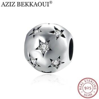 АЗИЗ BEKKAOUI 100% Аутентичные Стерлингового Серебра Diy Шарики подходят Пандора Браслет Ясно Crystal Star Подвески Стерлингов-серебро-ювелирные изделия