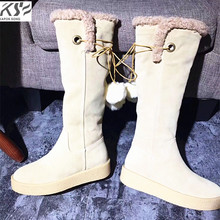 really leather suede boots wool boots women luxury brand designer boots lady branded logo stretch elastic long boots 2017 new(China)