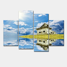 Top Fashion Unframed New Modular Pictures Modern Wall Art Home Decoration Paintings 4 Panels Hd Canvas Prints Old House(China)