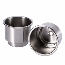 2Pcs Stainless Steel Cup Drink Bottle Holder for Marine Boat RV Camper Silver Color