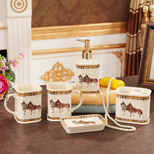 Five-piece ceramic bathroom set  Washroom set Lotion dispenser supplies Toothbrush Holder sets Soap holder(not include the tray)