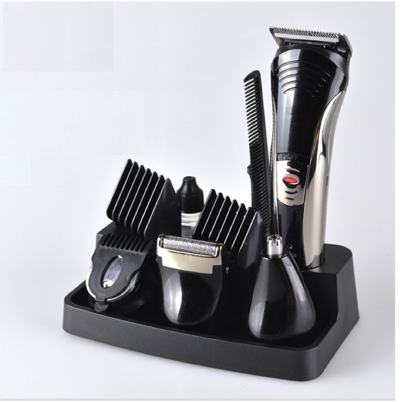 Rechargeable Mens Grooming Set Hair Cutting Machine Barber Hair Clipper / Trimmer / Nose Trimmer / Shaver With Display Stand<br>