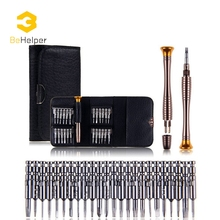 BeHelper 25 in 1 Precision Screwdriver Wallet Repair Dismantle Tool Set for iPhone Cellphone Tablet PC Hand Tools Kit(China)