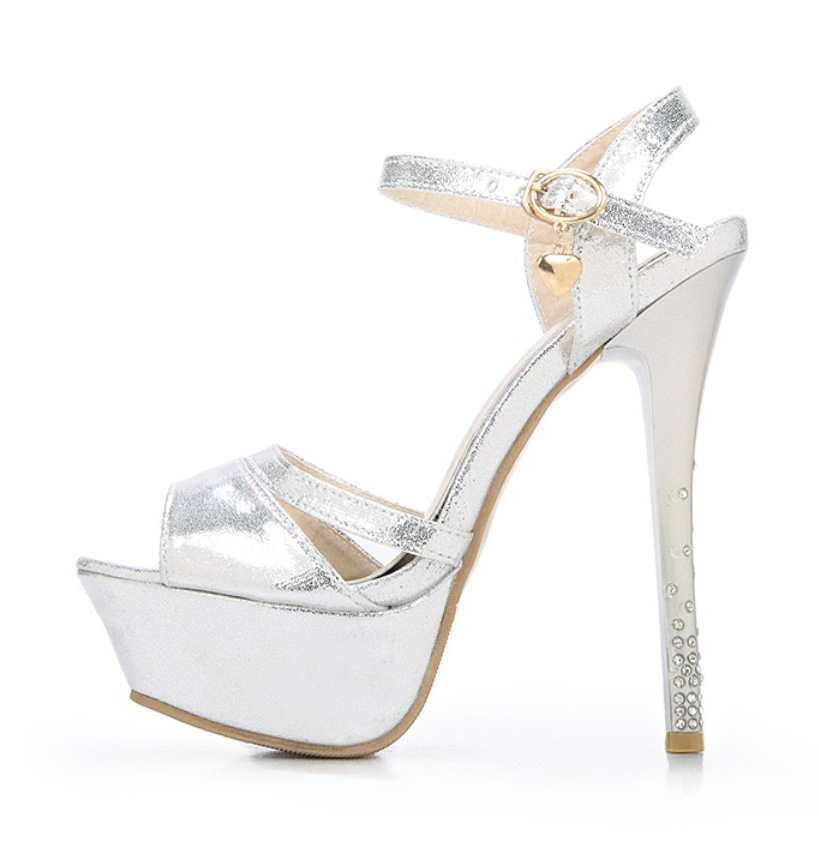 Gold Silver Rhinestone Crystal Women Stiletto Ankle Strap Platform Stripper Ultra High Heel Pumps Woman Wedding Fetish Shoes<br><br>Aliexpress