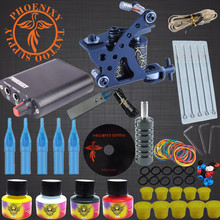 Complete Tattoo Kits 8 Wrap Coils Guns Tattoo Machine Set Black Pigment Sets Power Supply Beginner Tato Supplies