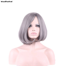 WOODFESTIVAL women grey gray wigs short bobo wigs synthetic hair heat resistant navy blue wig 30 cm purple taro wig Straight(China)