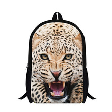 Cool Leopard backpack for teenager,Animal 3D print lion back pack for boys,children fashion school bookbags bagpack schoolbags