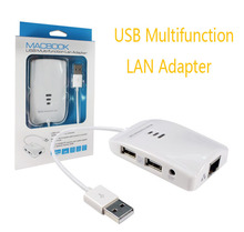 Multi function USB 2.0 to RJ45 Lan Ethernet Adapter w/ 2 Port USB HUB SDHC Micro SD TF M2 Card Reader for PC Laptop Tablet