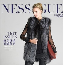 Cheap Sell Women Fashion Fox Fur Coat Lady Silver Fox Fur Vest Coat Middle Long Style Fur Jacket