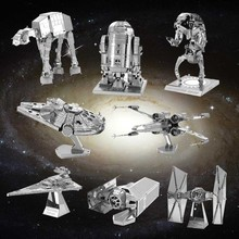 DIY 3D Metal Puzzle Model Toys Star Wars For Children/Adult Cartoon Robot X-Wing R2-D2 RT-RT Model