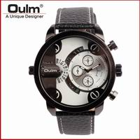 2017 New brand OULM colorful Leather Wristwatches  Men Dual Time Zone Watches sport<br><br>Aliexpress