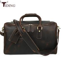 Tiding Italian Leather Travel Duffle Bags Women Luggage Handbag Designer Weekender Bag Overnight Bags Brown Travel Tote Bags Hot(China)
