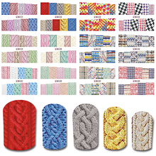 2017 NEW 12 Design in One Set New Sweater Pattern Nail Full Stickers Water Transfer Tips Nail Art Decoration Tool BEBN517-528