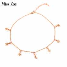 Miss Zoe Crystal Starburst Crescent Moon Star Necklace Rhinestone Pendant Necklace Rose Gold Simple Jewelry Gift for Women