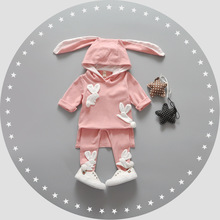 Baby Girl Clothes Korean Style Lovely Newborn Clothing Cute Cartoon Four Rabbits Long Ears Children Roupa Infantil Baby Apparel