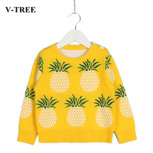 V-TREE Girls Sweater Pineapple Sweaters For Girls Autumn Boy Pullover Knitting Jumper Kids Sweater(China)