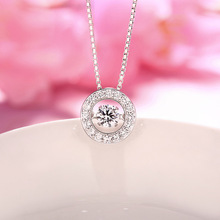 925 Sterling Silver Necklace Pendant Inlaid Cz Swing Smart Micro Fashion Jewelry Chain Clavicle