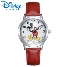 Disney Watch Mickey Mouse Women Watches Fashion Top Brand Wristwatch relogio feminino Casual Quartz Leather Strap Kid's Watches(China)