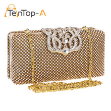 TenTop-A Top Quality Crown Rhinestone Evening Bag Two Sided Czech Diamond Party Purse Bling Luxurious Wedding Clutch Bags Pouch