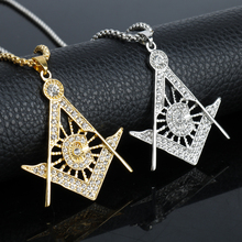 MQCHUN HIP Hop Gold Silver Color Freemason Masonic Necklaces Bling Compass G Pendants Crystal Jewelry Gift For Men Women 2017(China)