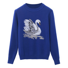 SRUILEE Swan Embroidery Jumper 2018 New Spring Women Sweater Pullover Knit Top Shirts Female Animal Jersey Sueter Mujer Runway(China)