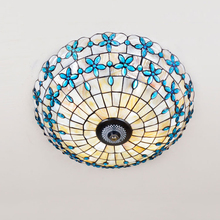 Mediterranean shell crystal stained glass tiffany lilac Ceiling lights 40 50 60cm. LED bulbs suspension lamp bedroom lighting