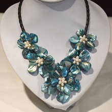 Blue Turkis Blues Blue Mother Of Pearl Shell Flower Necklace Leather(China)