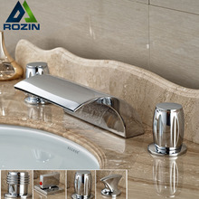 Double Handle Waterfall Curve Spout Basin Faucet Deck Mount Brass Chrome Tub Mixer Taps 3 Handles(China)