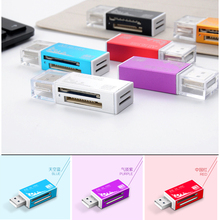 4 in 1 Aluminum SD TF M2 MS SD/Mini-SD/SD Ultra/MMC/MMCII/RS-MMC/HS-MMC/SDC/T-Flash USB2.0 Card Reader For Windows