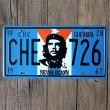 Vintage Car Plates Che Guevara Che 726 Car Number Plates Retro Metal Poster Tin Sign Tps Home Pub Bar Decor Neon Beer Signs Ajax